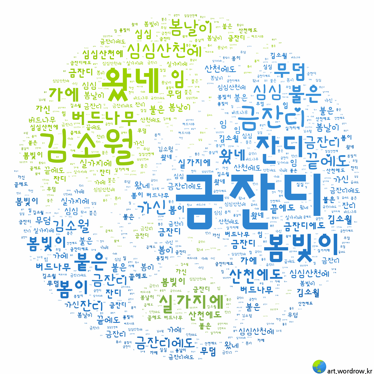 워드 클라우드: 금잔디 [김소월]-10